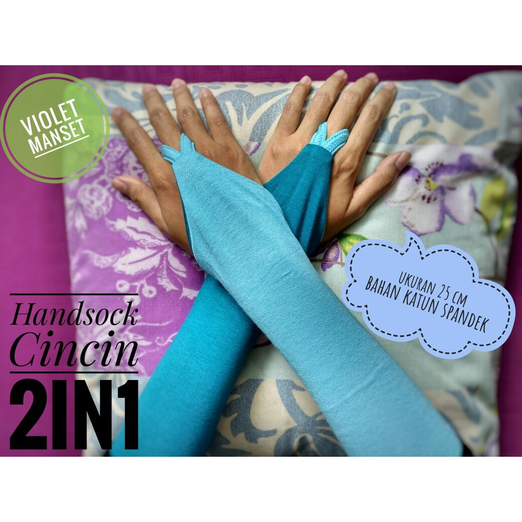 Manset Cincin Polos Bolak Balik 2 Warna Handsock 2in1