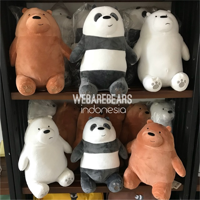 Boneka we bare bears grizz ice bear panpan teddy bear cartoon network miniso bantal anak