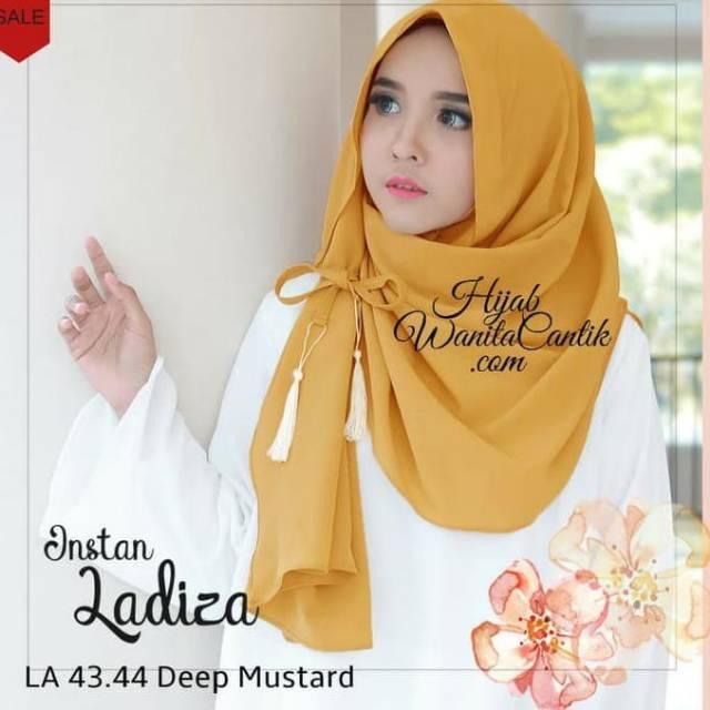 Termurah Hijab Instan Ladiza Instan Amira Pasmina Instan Warna Mustard Shopee Indonesia