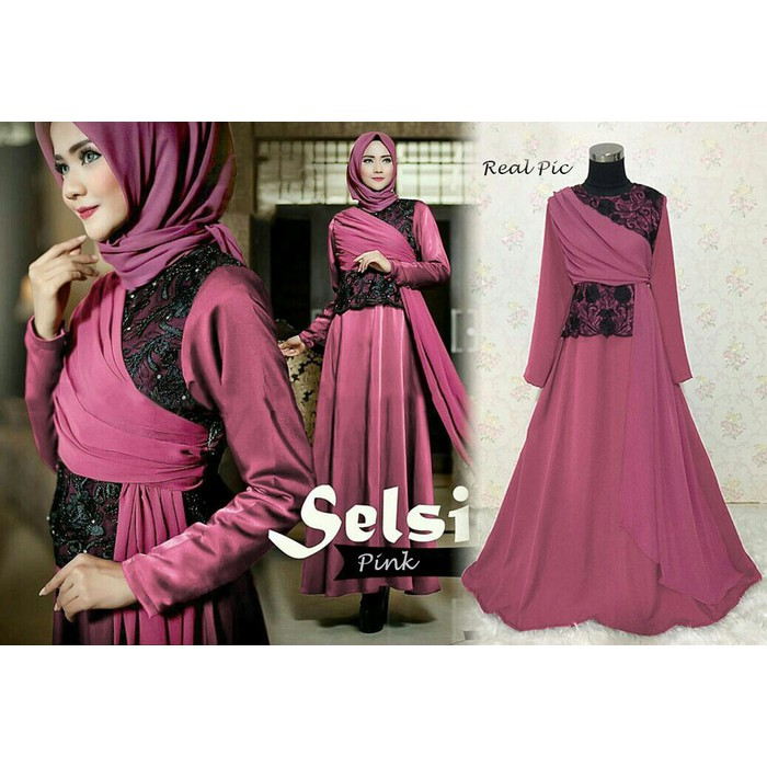 GAMIS PESTA maxi SABRINA warna baru Brukat BALOTELI +pashmina PROMO BESTSELLER RESTOCK | Shopee Indonesia