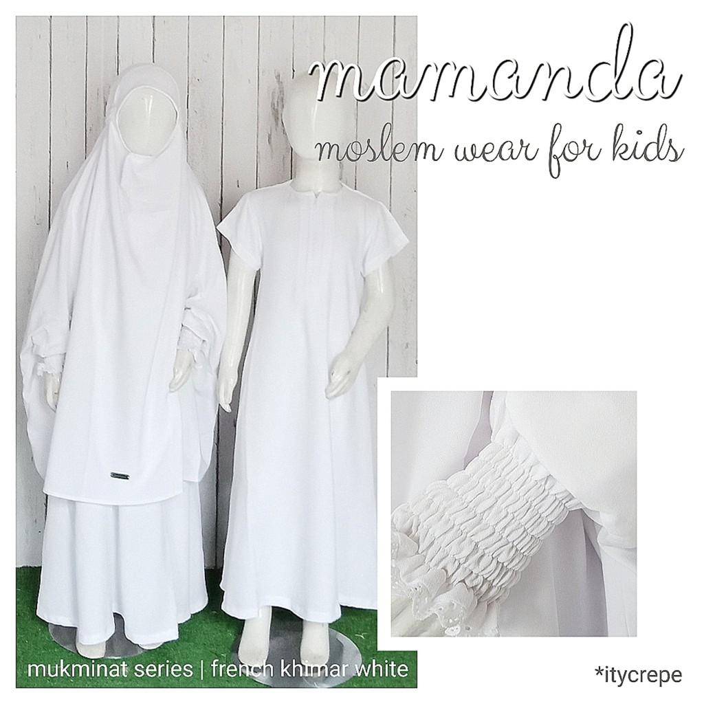 Gamis Anak French Khimar White Mukminat Series by Mamanda