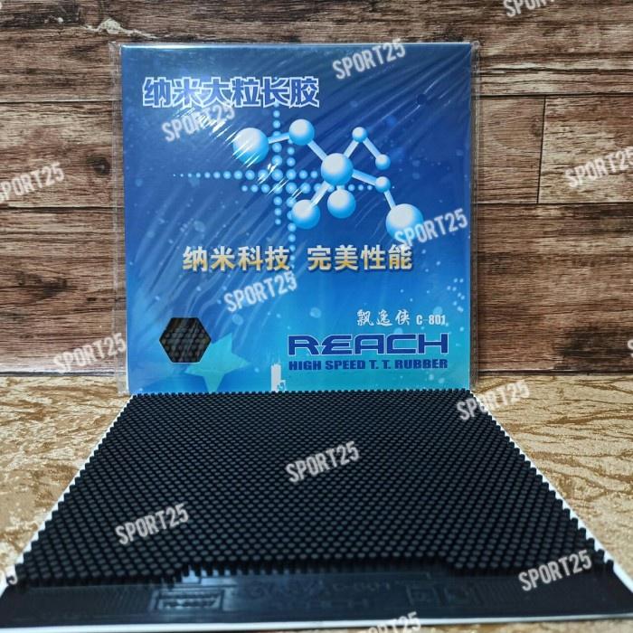 mejatenisbat- karet / rubber pingpong bintik panjang reach c801 c 801 ox original - merah -bat tenis