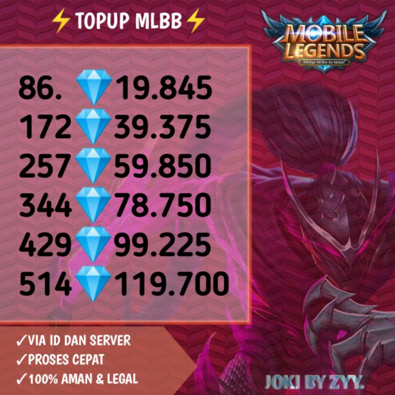 [TOPUP] DM Akun Mobile Legend Murah | top up diamond ml| diamond mlbb Dan Voucher Diamond