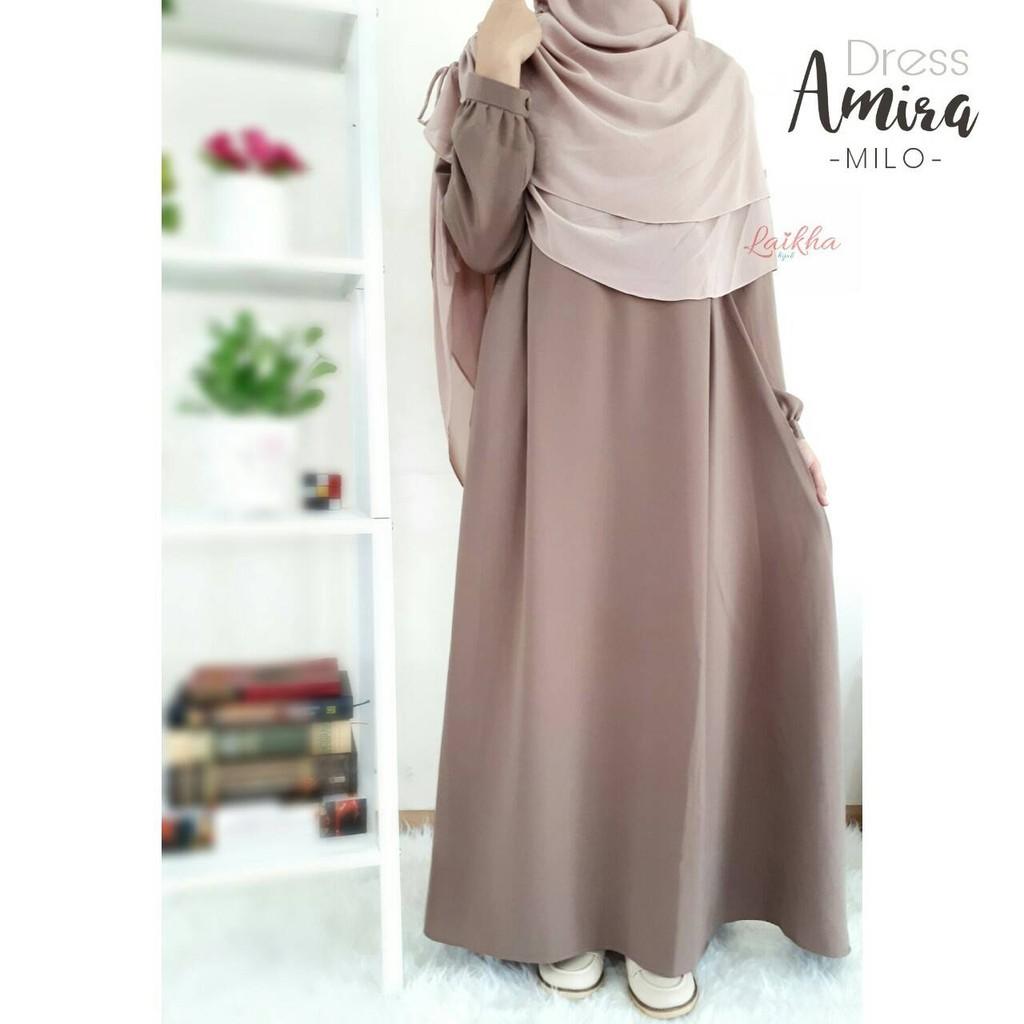 Gamis Wollycrepe Polos Warna Coklat Susu Amira Dress By Laikha Hijab