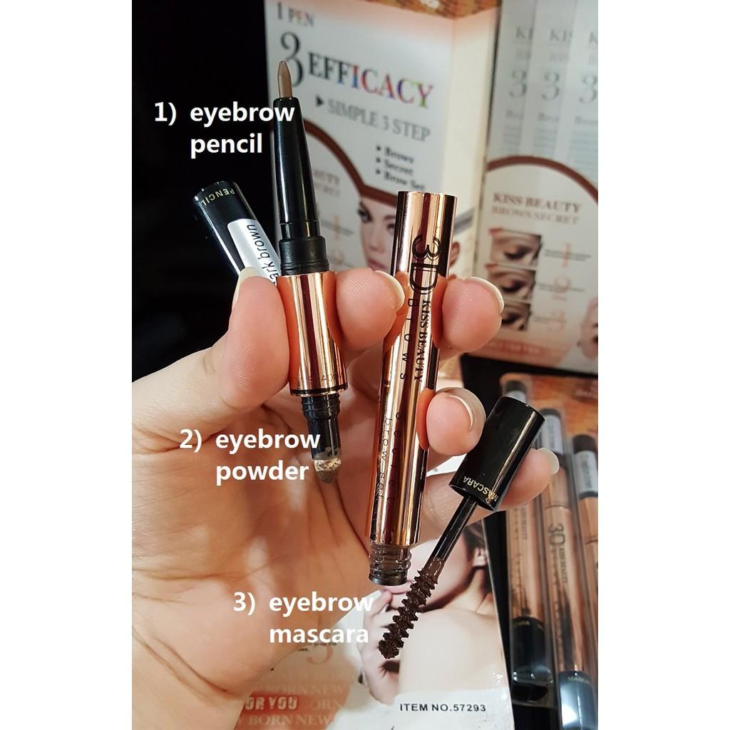 Kiss Beauty Eyebrow 3 In 1 Mascara Alis Eyeliner 2 Warna Gelbox Tinted Tattoo Kill Brow Spidol Gel Box