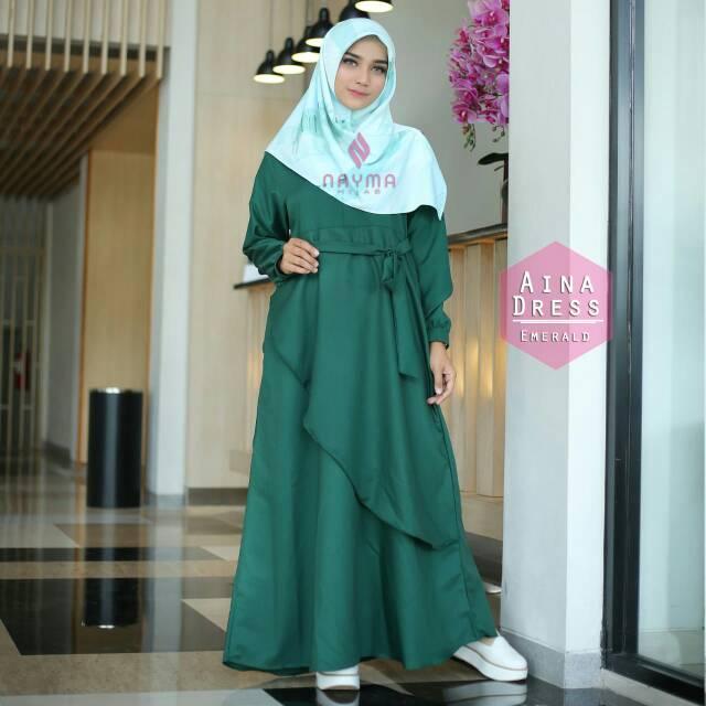 Aina Dress Original Gamis Katun Ima Platinum By Nayma Hijab