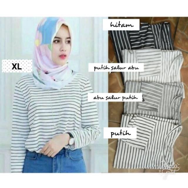 Mhfashion89 RM Tina Stripe Jumbo / Stevi Top Jumbo / Baju salur lengan panjang jumbo | Shopee Indonesia
