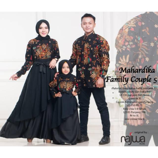 Mahardika Batik Family Couple Set Kemeja Panjang Maxi Dress Ibu Anak Fit M To Xxl