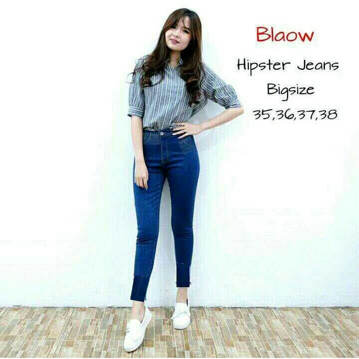 Celana Jeans Wanita Model Boy Friend Basic Lurus Big Size - Biru Dongker, 27 O406