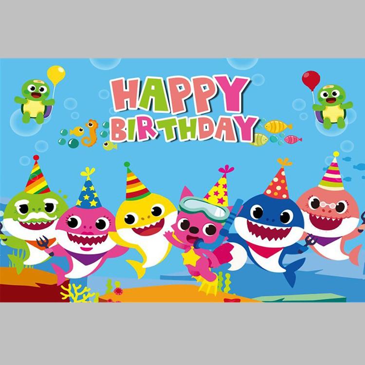 Poster Desain Ikan Hiu Happy Birthday Untuk Dekorasi Baby Shark Shopee Indonesia