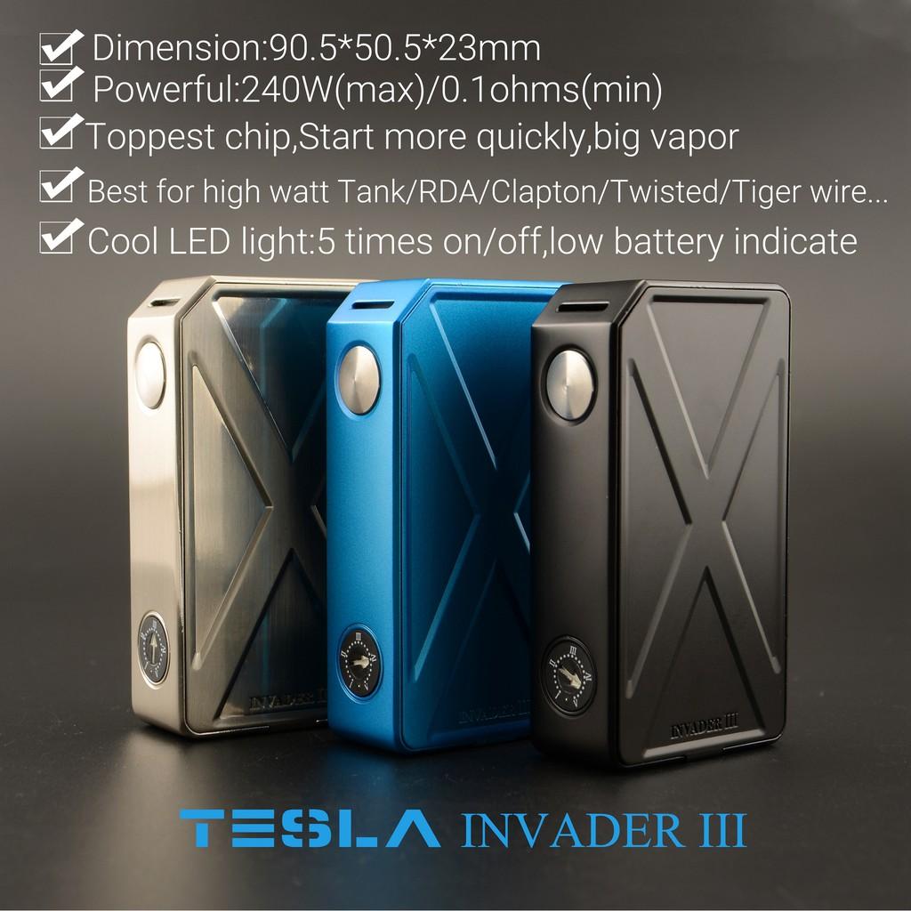 Vape Tesla Invader 3 Iii Semi Mecha Mod 240 Watt Vaporizer Tesla Invander Shopee Indonesia
