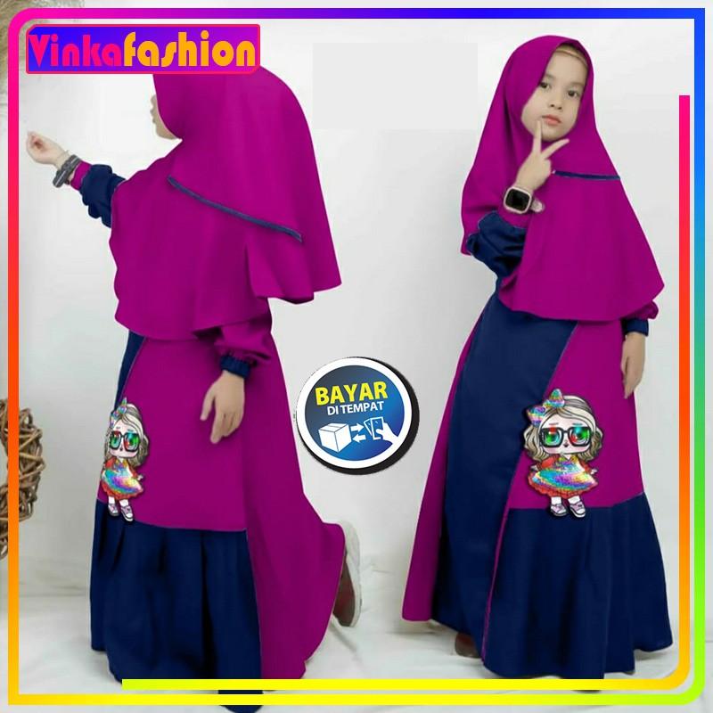 Baju Gamis Anak Cewek Pakaian Perempuan Muslimah Kartun Led Lol Lucu Usia Umur 5 6 7 Tahun Maroon Shopee Indonesia