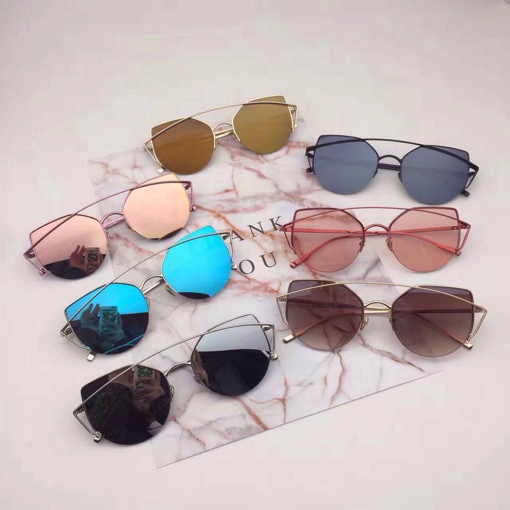 Mata Kucing Kaca Retro Warna Mawar Emas Sunglasses Flat Mirror Sunglass  Berwarna-warni  69910faa80