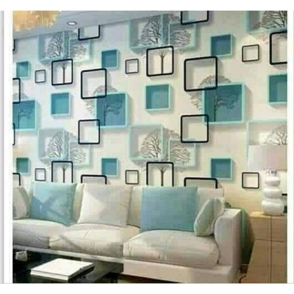 Wallpaper Dinding Kotak 3d Biru Murah