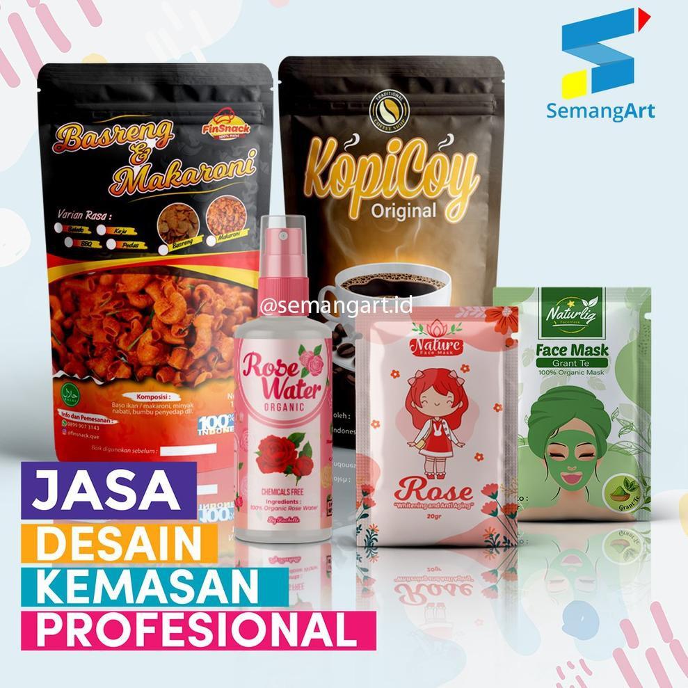 Bahan PilihanSemangart Jasa Desain Kemasan Sachet Masker Standing Pouch Makanan Logo Sticker Botol L