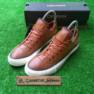 Sepatu sneakers Converse All Star leather brown kulit coklat High Quality  vietnam  a7826fc9c6