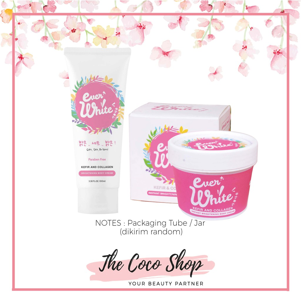 Everwhite Ever White Pemutih Badan Instant Brightening Body Cream Ertos Nigt Wajah Kpw 146 Ori Dari Pabrik Shopee Indonesia