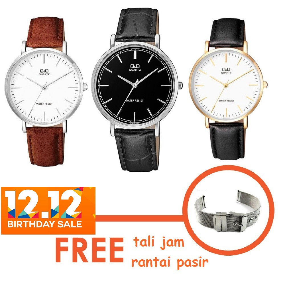 Jam Tangan Q&Q Original Pria Besar Analog Water Resist 10 Bar diameter 4cm Rubber Strap VQ66 | Shopee Indonesia