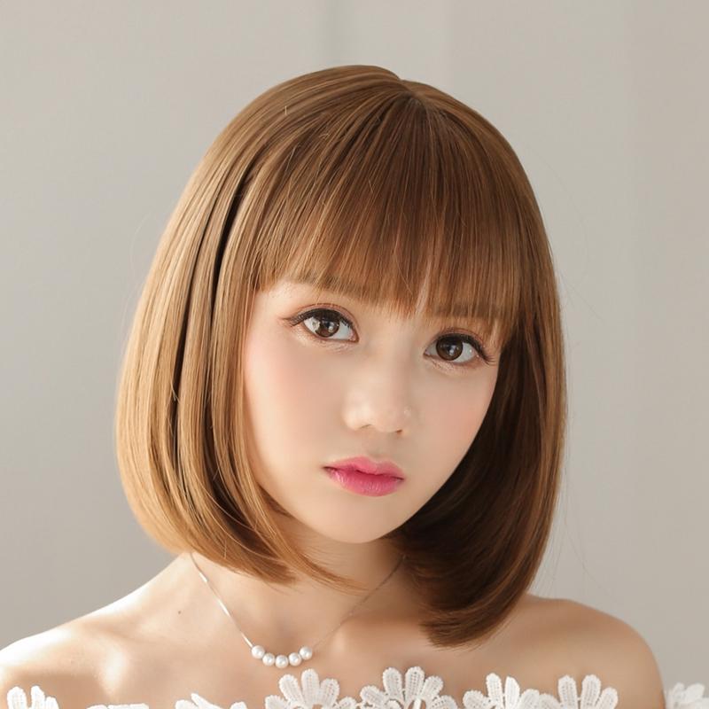 Mythland House Wig Perempuan Rambut Pendek Kepala Penuh Set Rambut Lurus Bobo Kepala Udara Qi Liu Ha Shopee Indonesia