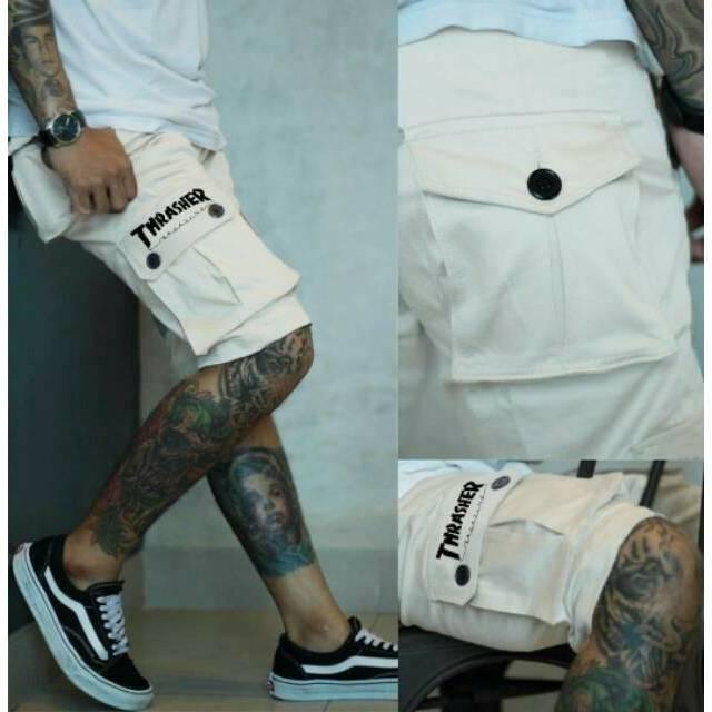 Celana Chino Cino Panjang Pria / Cowok Slimfit Warna Khaki Krem Cream Kode H033   Shopee