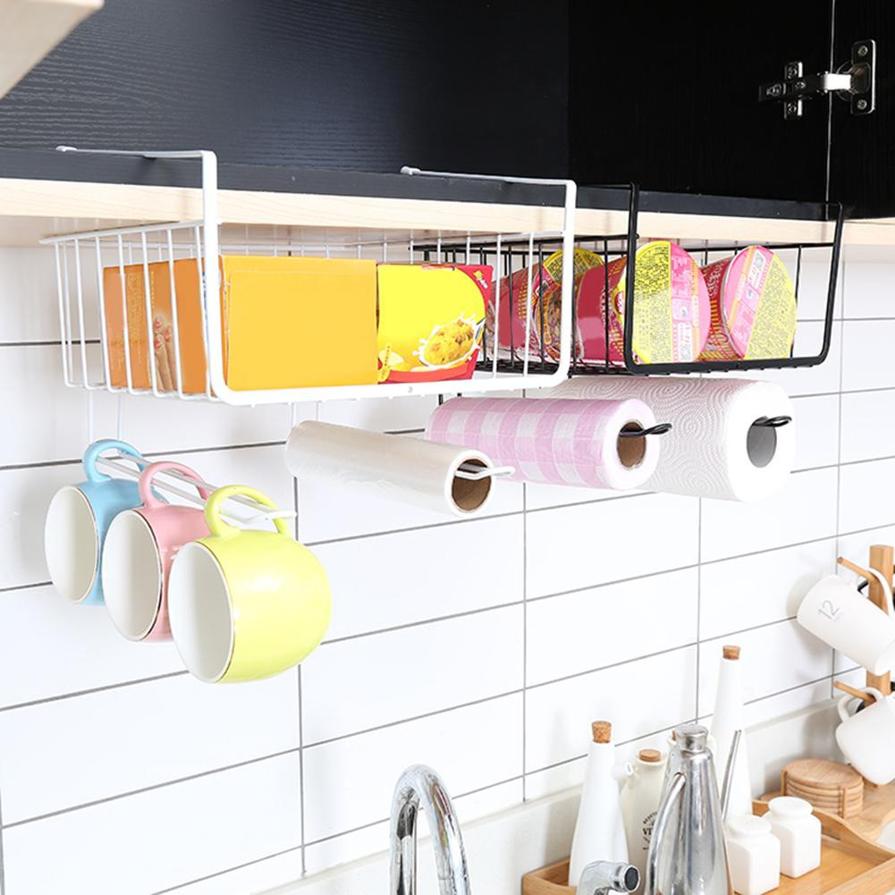 New Hanging Kitchen Cupboard Shelf Basket Holder Cabinet Storage Rack Shopee Indonesia