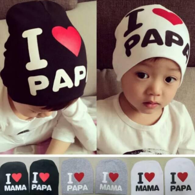Bayar Di Tempat Topi Kupluk Katun Bayi Anak Laki-laki Perempuan Tulisan I  LOVE MAMA PAPA  682ad73685