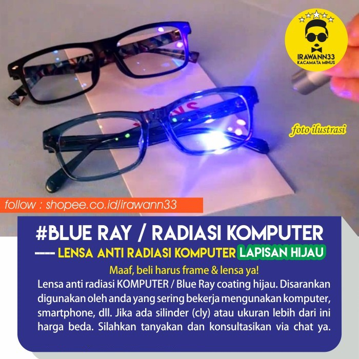LENSA KACAMATA BLUE RAY MINUS ANTI UV ~ No. 1 Telaris Lensa ANTI RADIAS  KOMPUTER  BLUE RAY  b9122ebaab