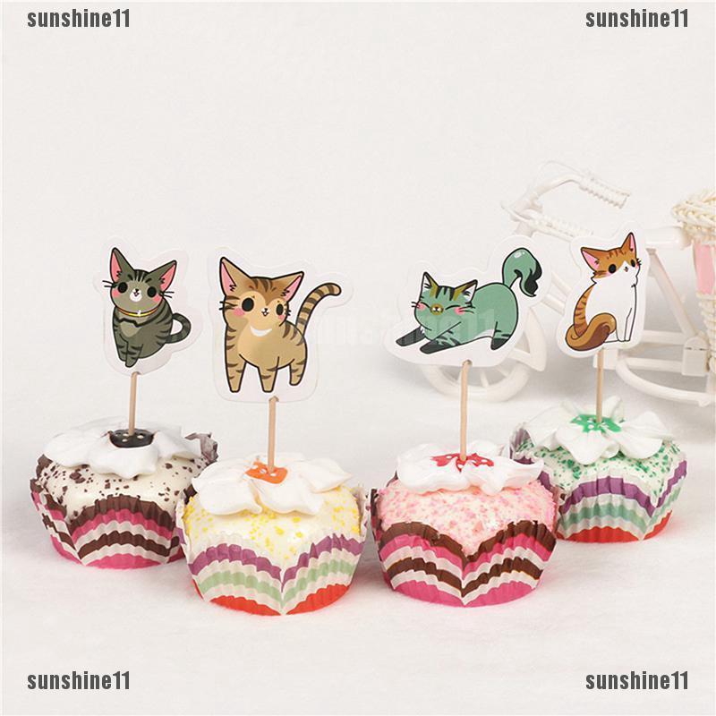 Sun11 24pcs Topper Kue Cupcake Desain Kucing Untuk Pesta Ulang Tahun Anak Kecil