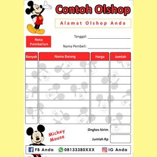 Nota Penjualan Pembelian Custom Olshop Online Shop Karakter Kartun Mickey Mouse Lucu Imut Murah