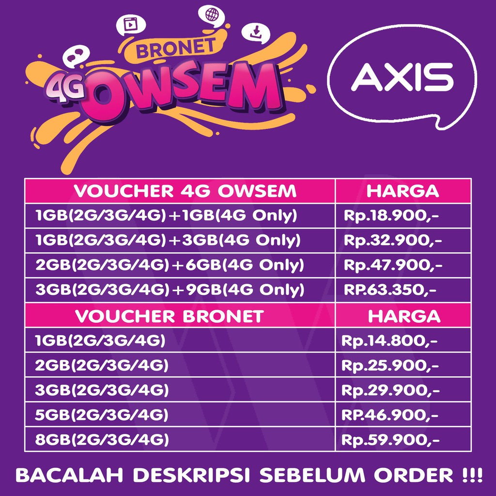 Voucher Aigo Axis Owsem Dan Bronet Chat Shopee Indonesia Aigoo 2gb