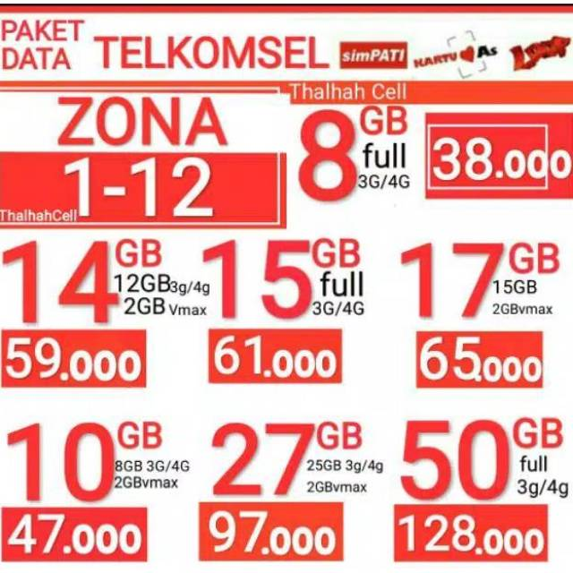 Paket Data Telkomsel 14gb 17gb 52gb 27gb 32gb Hot Promo Paket Telkomsel Shopee Indonesia