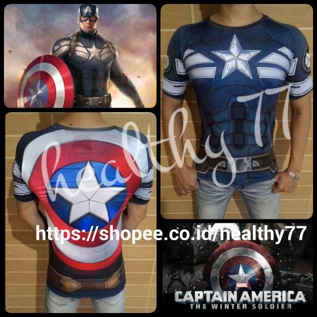 14ab463d Kaos baju Sport Sublim Fitness Gym bodyfit Full Print Superhero Captain  America Winter Soldier | Shopee Indonesia