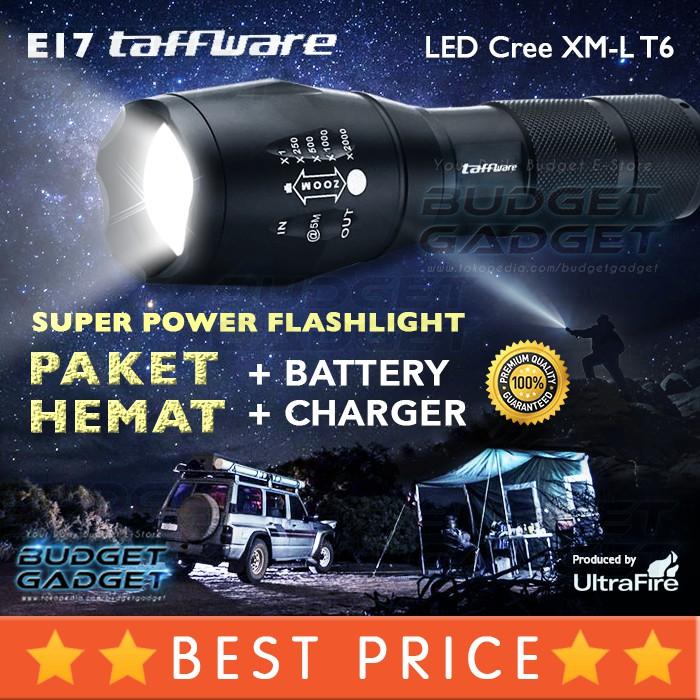 Senter LED Super Terang Taffware 5000 Lumens Cree XM-L T6 26650 bisa batere biasa AAA | Shopee Indonesia