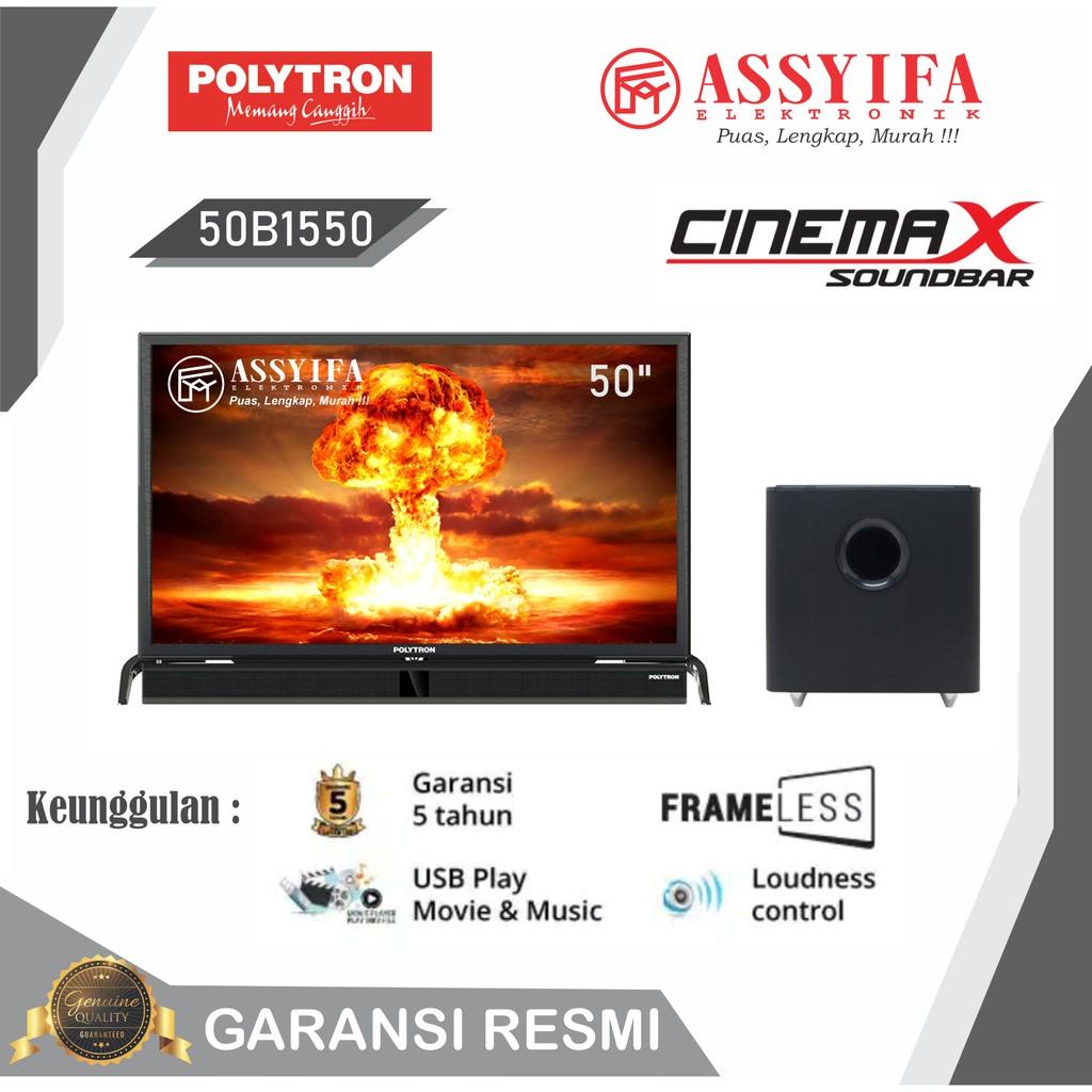 LED TV  POLYTRON SOUNDBAR 50 INCH 50B1550 FULL HD + SPEAKER SOUNDBAR