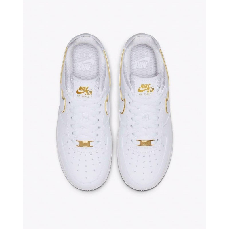 Women's Nike Air Force 1 '07 Essential White/Metallic Gold 100% Authentic
