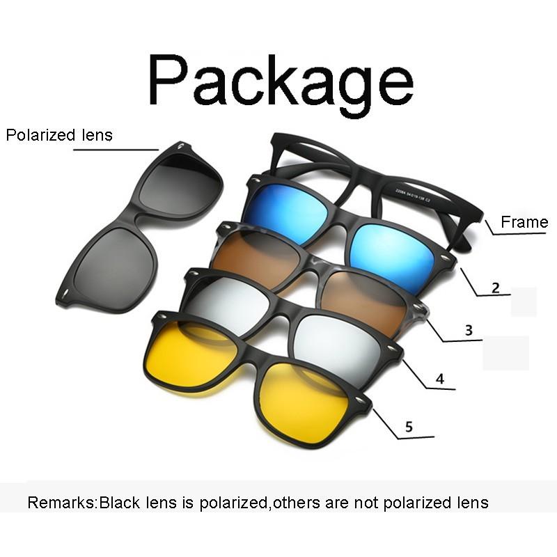 1Pc Kacamata Custom dengan 5Pcs Clip On Magnetik Lensa Polarized untuk Pria   1a7d9e3674