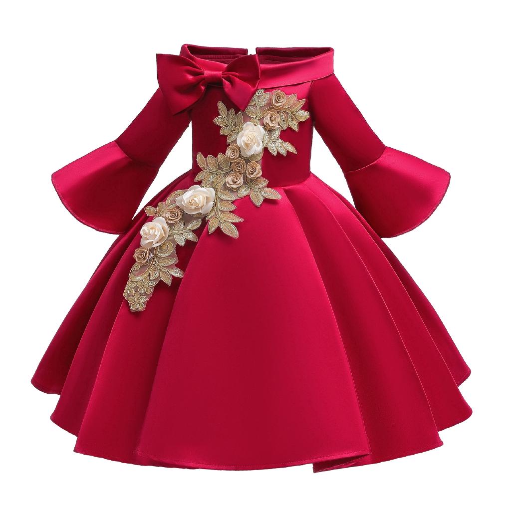 Red Elegant Flower Girl Dress Kids Formal Party Princess Dress Flower Girl  Dress