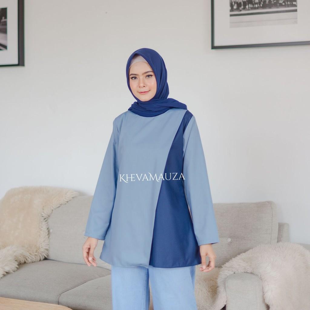 Tunik Denim Tangan Panjang Model Terbaru - Jfashion Vicky   Shopee Indonesia
