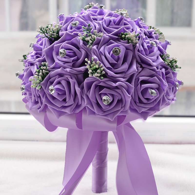 Bunga Mawar Ungu Palsu Artifisial Pe Aksen Kupu Kupu Capung Kristal Untuk Buket Pernikahan Ehgj Shopee Indonesia