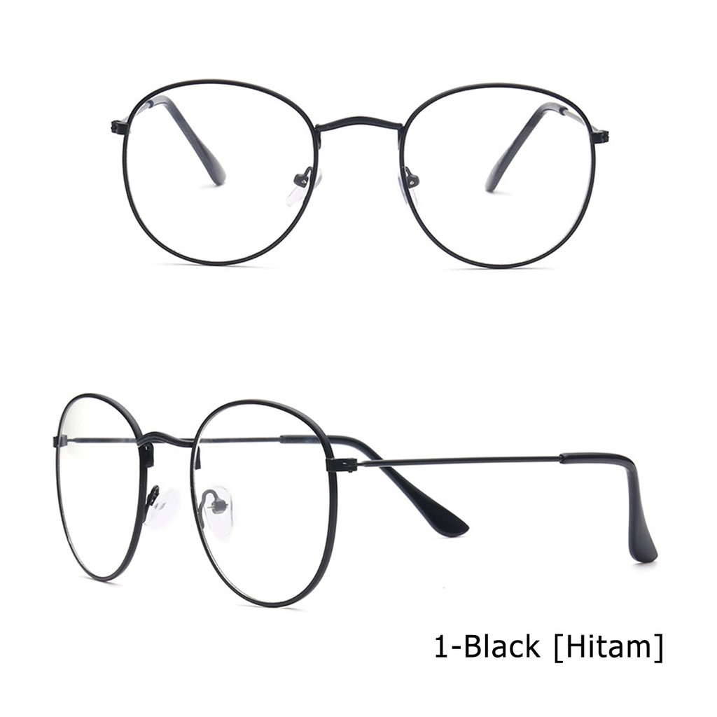 Bayar Di Tempat Kacamata Hitam Pria   Wanita Model Retro Frame Metal Oval  Ukuran Kecil UV400  1e311c51eb