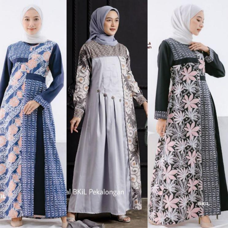 Model Baru!!. Baju Batik Wanita Gamis Batik Modern Batik Kombinasi