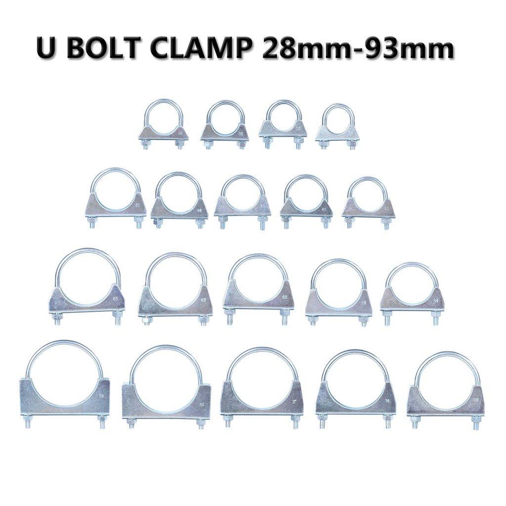 Universal Exhaust U Clamp Bolt Heavy Duty TV aerial Pipe Hose 92mm Pack x 2
