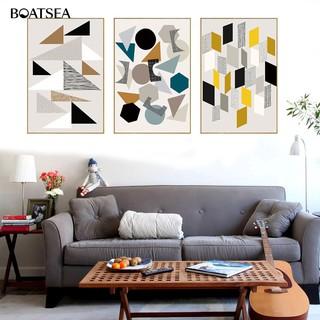 lukisan abstrak geometris untuk dekorasi kamar tidur