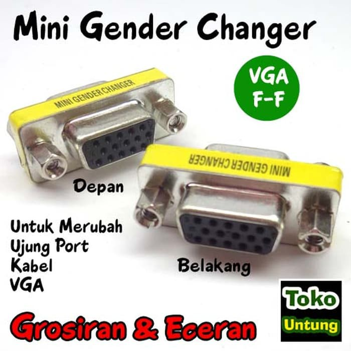 Konektor Sambungan Mini Gender Changer VGA 15 Pin Female To Female | Shopee Indonesia