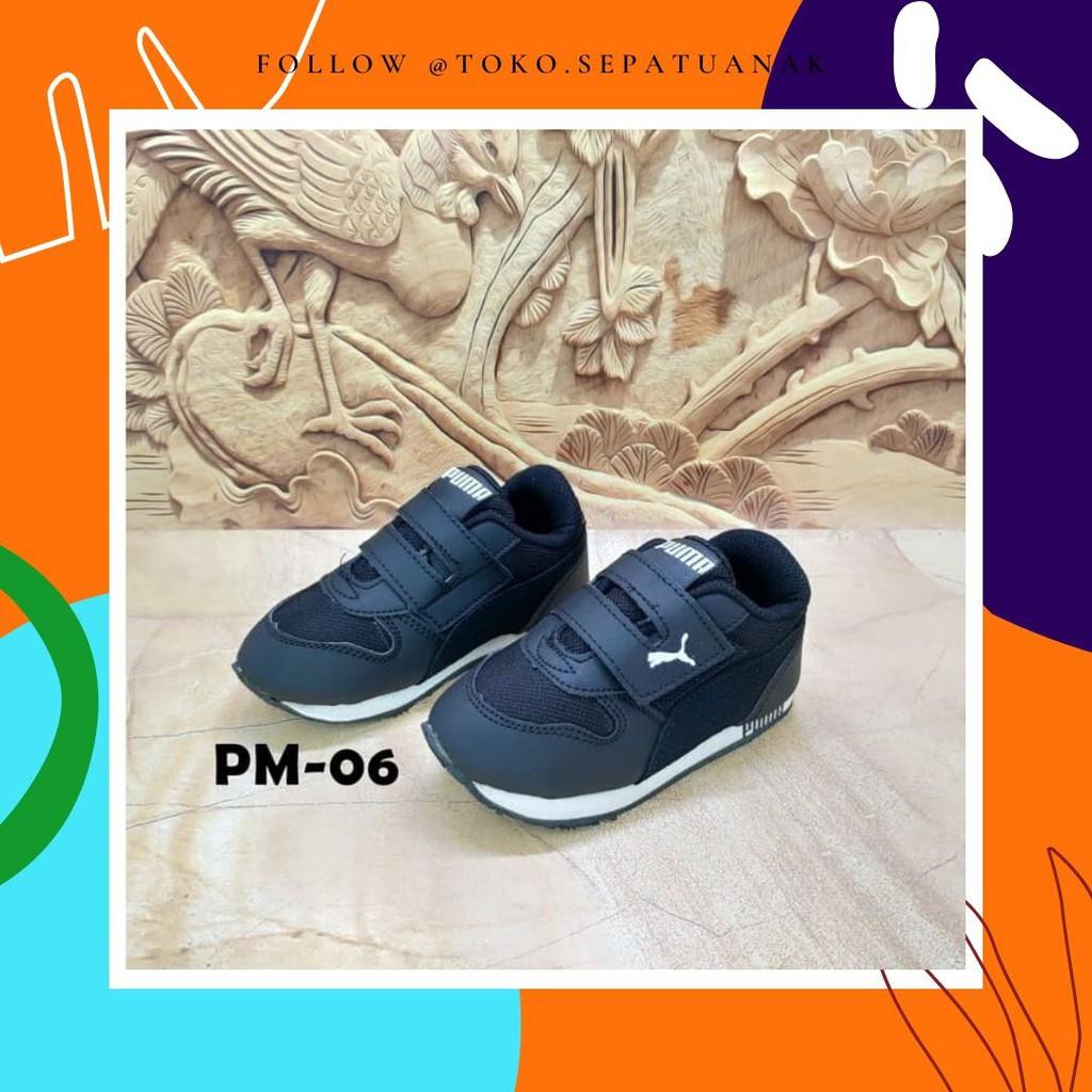 Sepatu Anak Puma Olahraga Anak Sekolah Full Hitam Shopee Indonesia