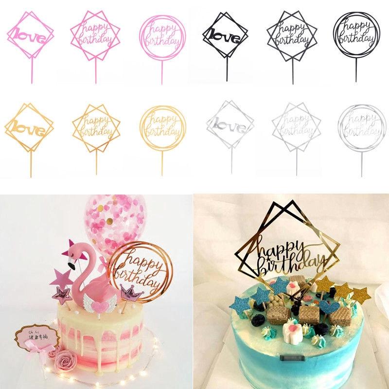 1pc Acrylic Cake Topper Love Happy Birthday Wedding Baby Shower Cupcake Birthday Cake Decoration Shopee Indonesia