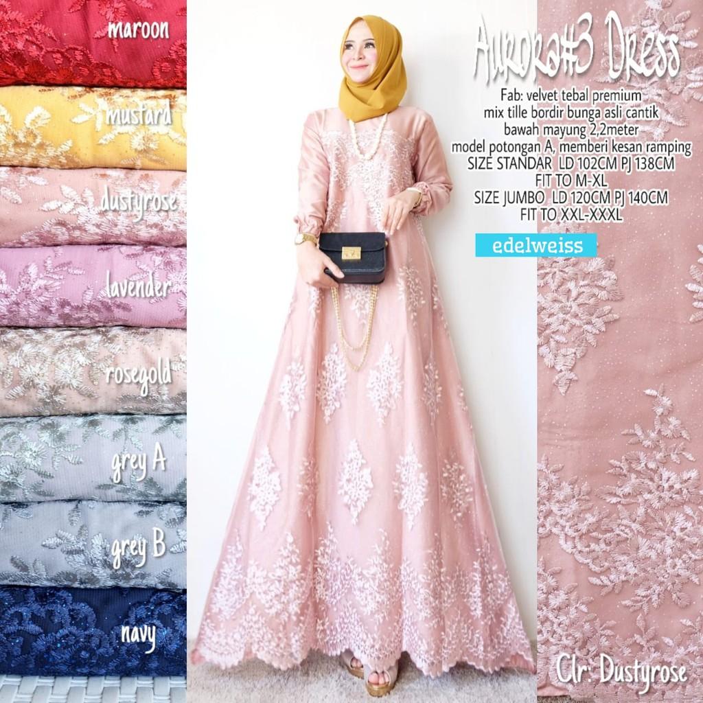Aurora #9 Dress / Gamis brokat kondangan wisuda size standar dan jumbo /  Dress brokat jumbo murah
