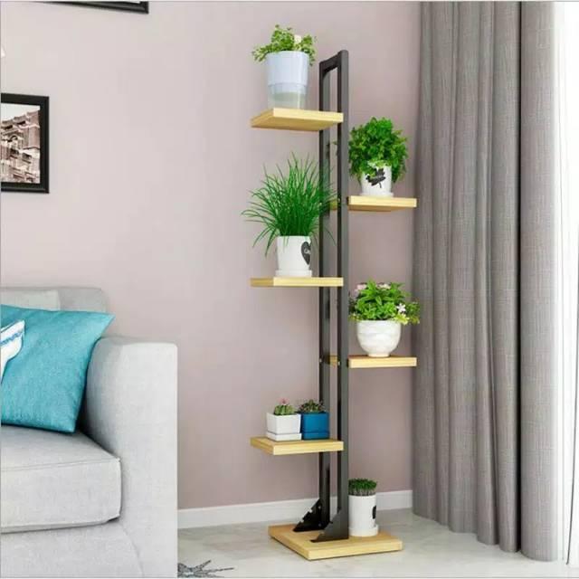 Tanaman Modern Rak Bingkai Besi Berdiri Rak Bunga Planten Standar Balkon Dekorasi Rak Ruang Tamu