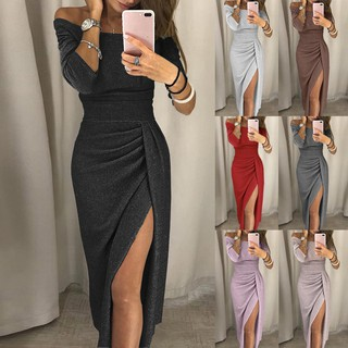 Big Sale Women Off Shoulder High Slit Bodycon Dress Long Sleeve Dresses Shopee Indonesia