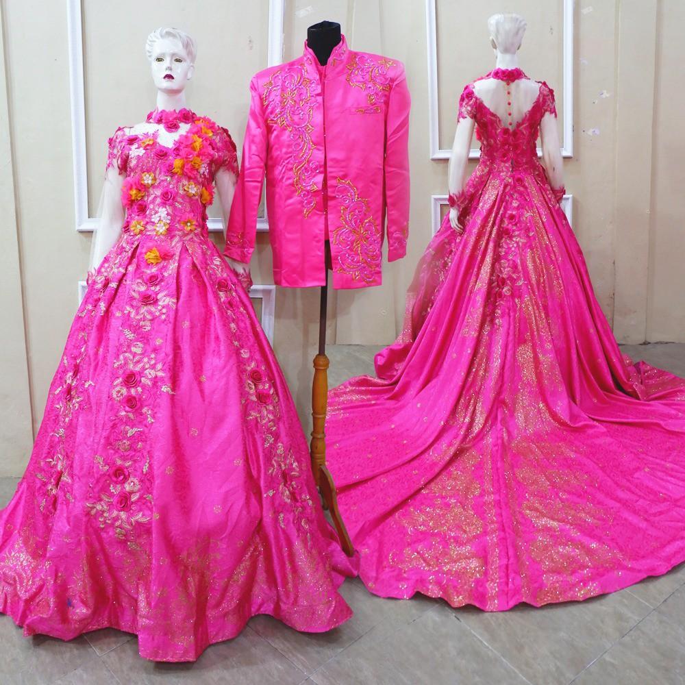 Gaun Ekor Pink Dress Princess Xl Baju Pengantin Akad Resepsi